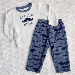 "Carter's ""Little Hunk"" fleece PJs w/ mustache"